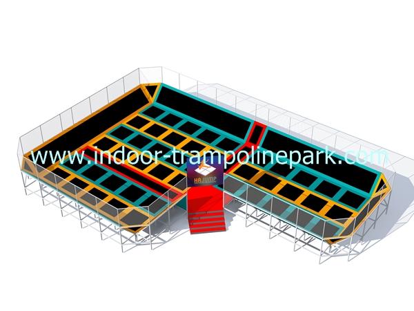 Main court trampoline park hajump trampolines for Indoor trampoline park design manufacturing